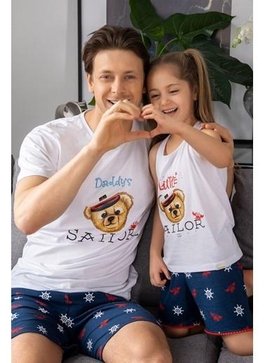 Katia & Bony Marine Teddy Bear Baskılı Erkek şortlu Pijama Takımı - Beyaz Beyaz